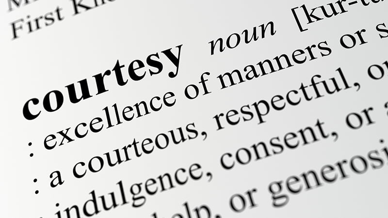 Word of the month: Courtesy. Image of definition of courtesy in dictionary