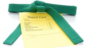 report card and green belt