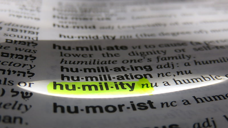 humility word highlighted in dictionary