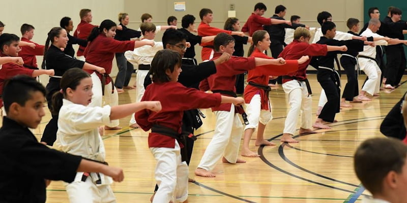 Members being tested for their black belts