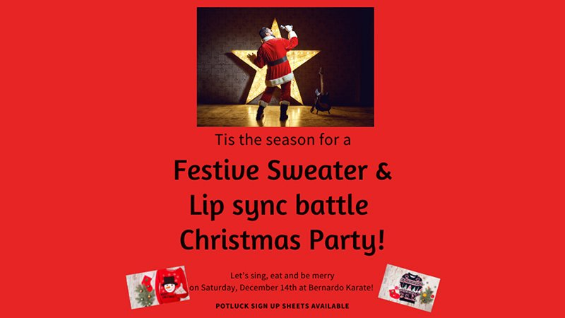Festive sweater and lip sync battle