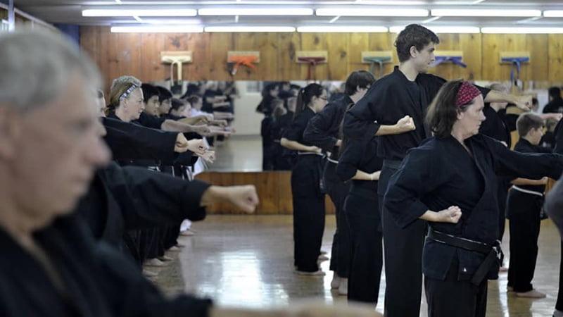 Black belt students training