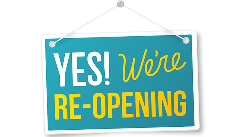 Yes! We're Re-opening sign